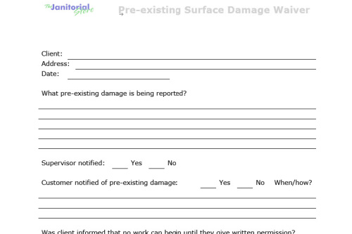 FORM: Pre-existing Surface Damage Waiver
