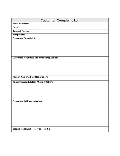 Customer Complaints Form Template. Employee Complaint Form