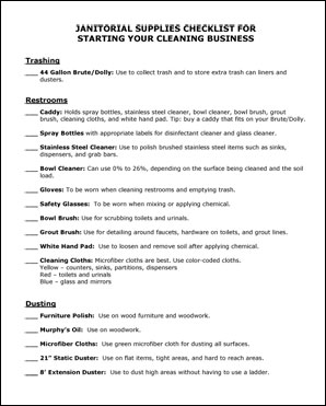 Office Cleaning Checklist – images free download