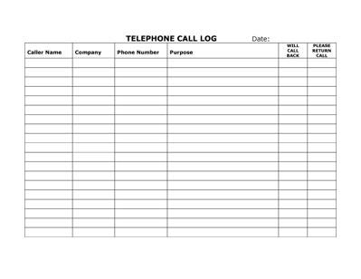 phone call log sheet templates .