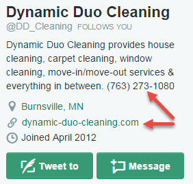 Do you use social media to market your cleaning business twitter profile example fandeluxe Images