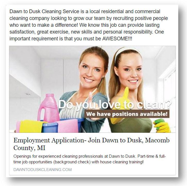 sample social media recruitment ad