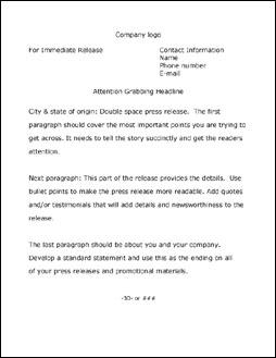 standard press release format