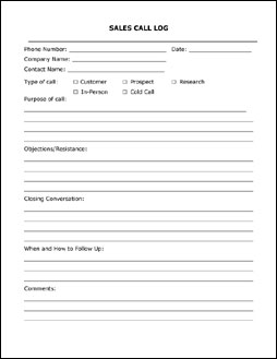 Sales Call Forms