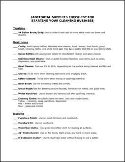 Cleaning Checklists And Forms Pack The Janitorial Store - Bathroom cleaning supplies list