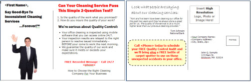 Postcard and Comment Card Templates for Commercial Cleaning Companies – Comment Card Template