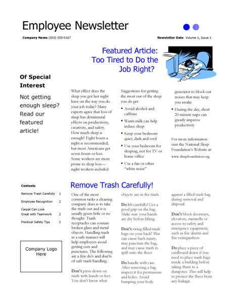 employee newsletter sample Marketing Materials Group 2