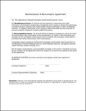Human Resource Forms - Free non disclosure non compete agreement template